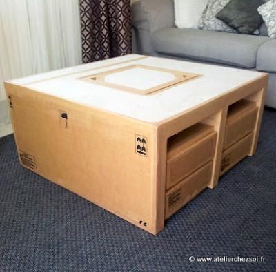 Nouveau patron meuble en carton table basse hoxane - Comment fabriquer une table en carton ...