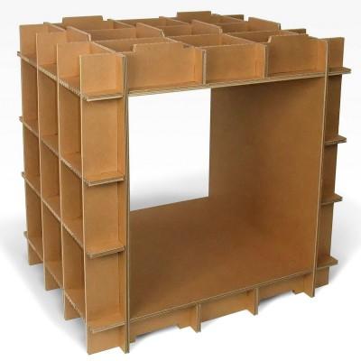 kit meuble en carton cr ez vos etag res et biblioth ques en carton avec le stri cube. Black Bedroom Furniture Sets. Home Design Ideas
