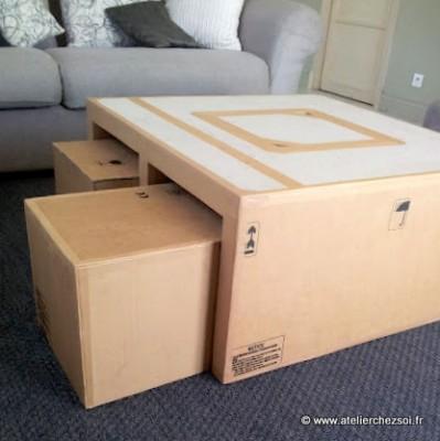 nouveau patron meuble en carton table basse hoxane. Black Bedroom Furniture Sets. Home Design Ideas