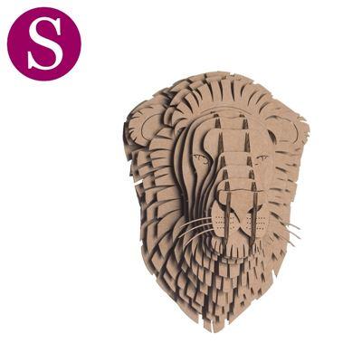 petit troph e t te de lion en carton brun de l 39 atelier chez soi. Black Bedroom Furniture Sets. Home Design Ideas