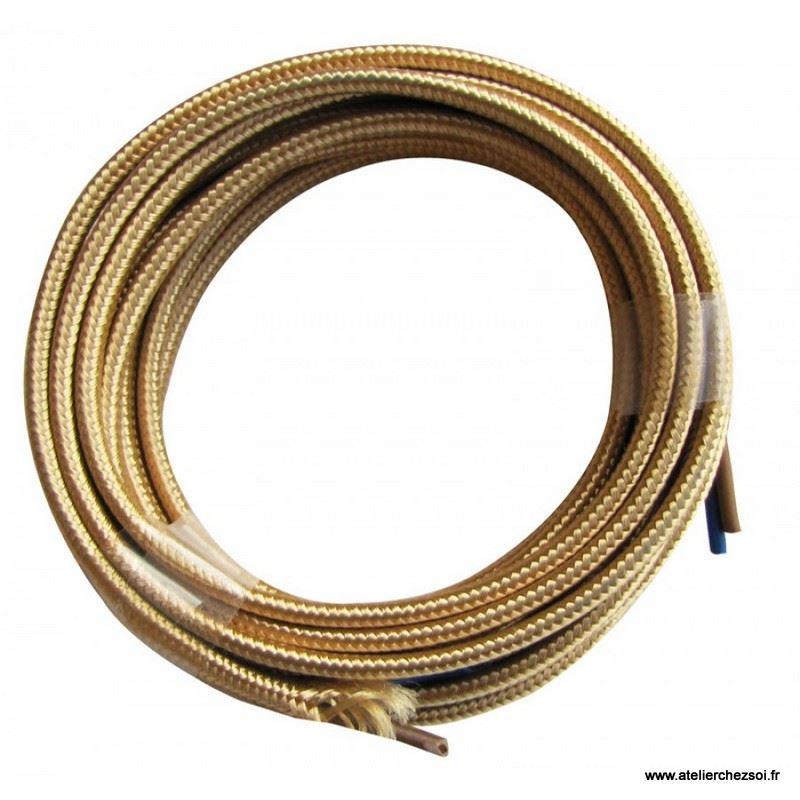 cable lectrique plat tissu or 3 m tres de l 39 atelier chez soi. Black Bedroom Furniture Sets. Home Design Ideas