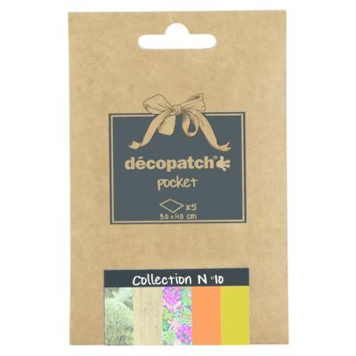 Papier Decopatch Pocket 5 feuilles 30x40cm assorties Collection n°10
