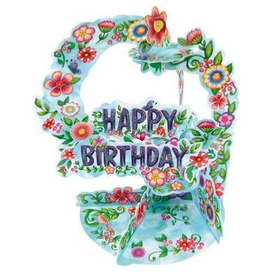 Carte suspendue 3D Fleurs Happy Birthday Pendulum Cards Santoro