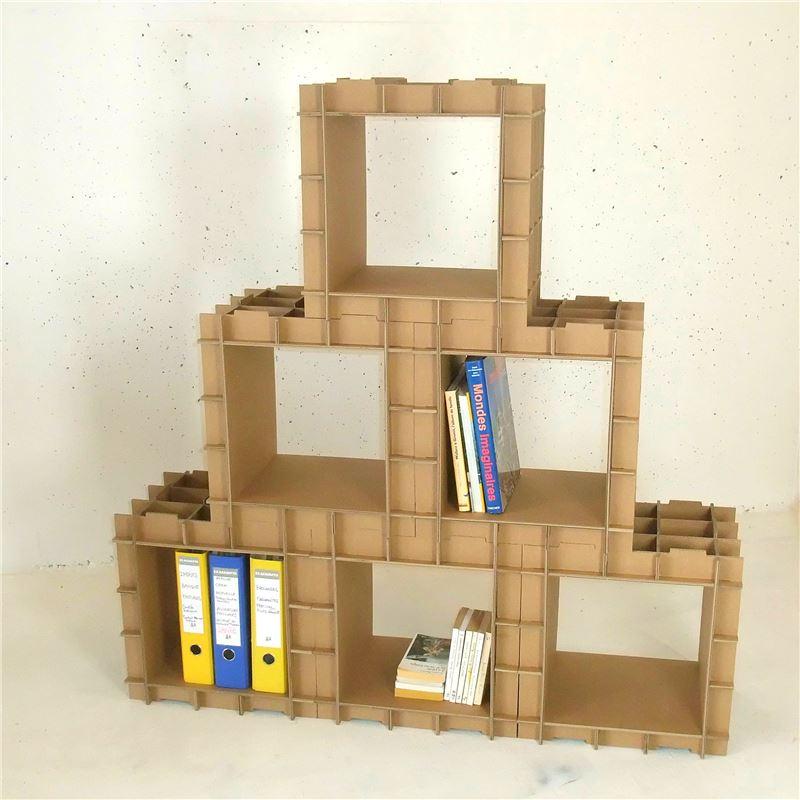 module de rangement en carton stri cube s rigraphi blanc de l 39 atelier chez soi. Black Bedroom Furniture Sets. Home Design Ideas