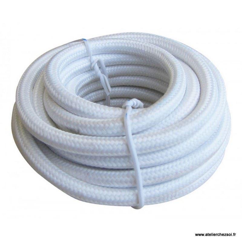Cable lectrique rond tissu blanc 4 m tres de l 39 atelier - Cable electrique tissu ...