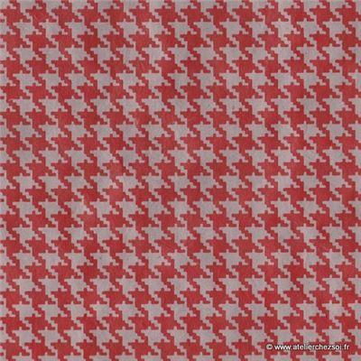 papier n palais pied de poule gris rouge 50x75 cm de l 39 atelier chez soi. Black Bedroom Furniture Sets. Home Design Ideas