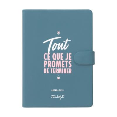 Petit Agenda 2019 Journalier Mr Wonderful 12x17cm Tout ce que je promets de Terminer