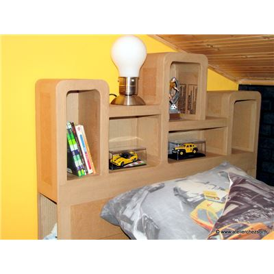 t te de lit en carton haustin d coration kraft brun. Black Bedroom Furniture Sets. Home Design Ideas