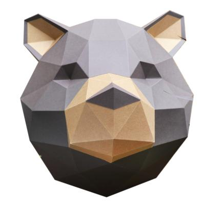 Kit de pliage Trophée Papercraft Ours Grizzly Marron et Kraft à fabriquer 40x42 cm