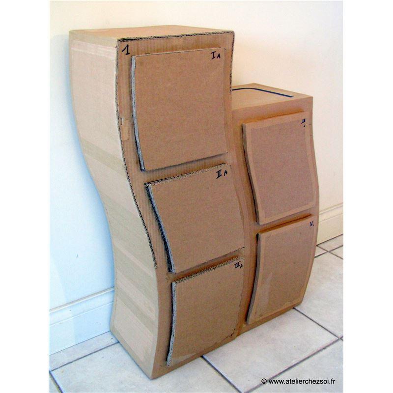 Patron de meuble en carton etag re hondule petite de l for Meuble carton tuto