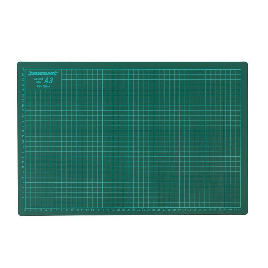 tapis de coupe quadrill en cm a3 vert 30x45 cm silverline. Black Bedroom Furniture Sets. Home Design Ideas