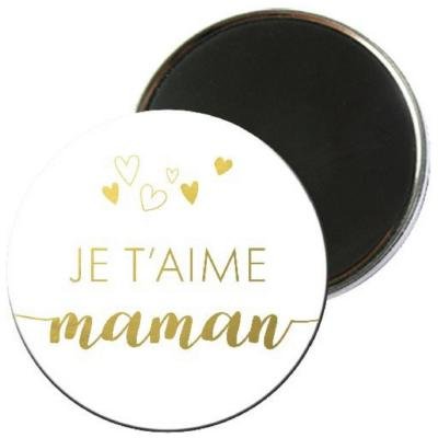 Magnet rond 56mm Blanc Or Je t'aime Maman Kiub