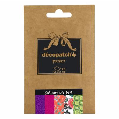 Papier Decopatch Pocket 5 feuilles 30x40cm assorties Collection n°1