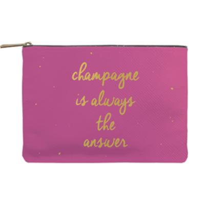 Pochette Rose et Or Citation Champagne is always the answer 16 x 23 cm Color Chic