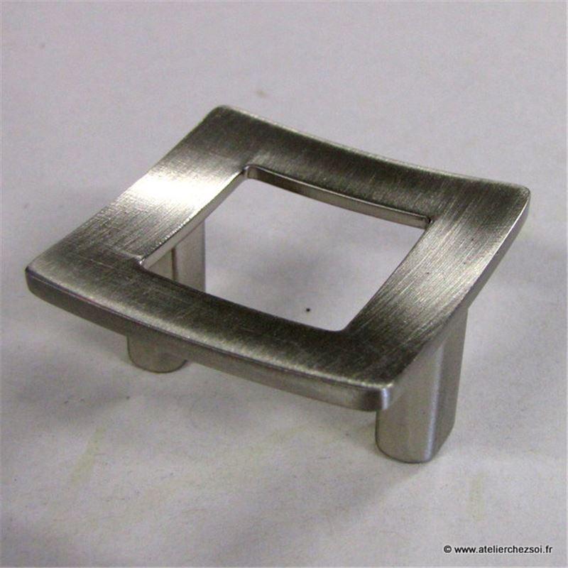 Bouton de meuble cadre zamak finition inox 41mm de l for Finition de meuble