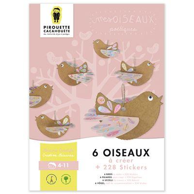 kit cr atif 6 oiseaux po tiques fabriquer avec stickers. Black Bedroom Furniture Sets. Home Design Ideas