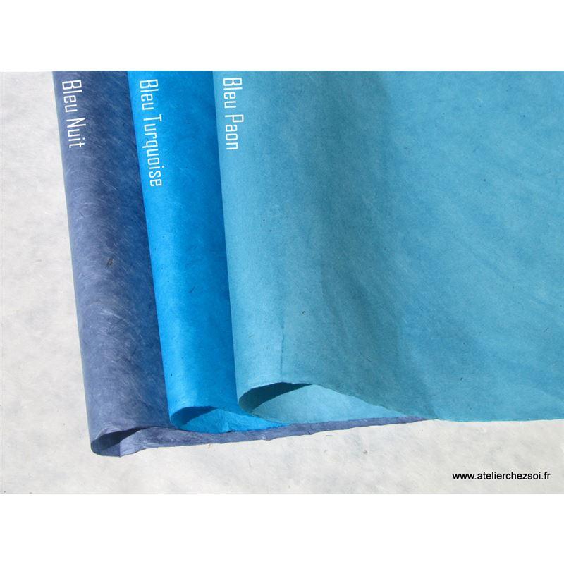Papier n palais uni couleur bleu paon 50x75 cm de l for Couleur bleu paon
