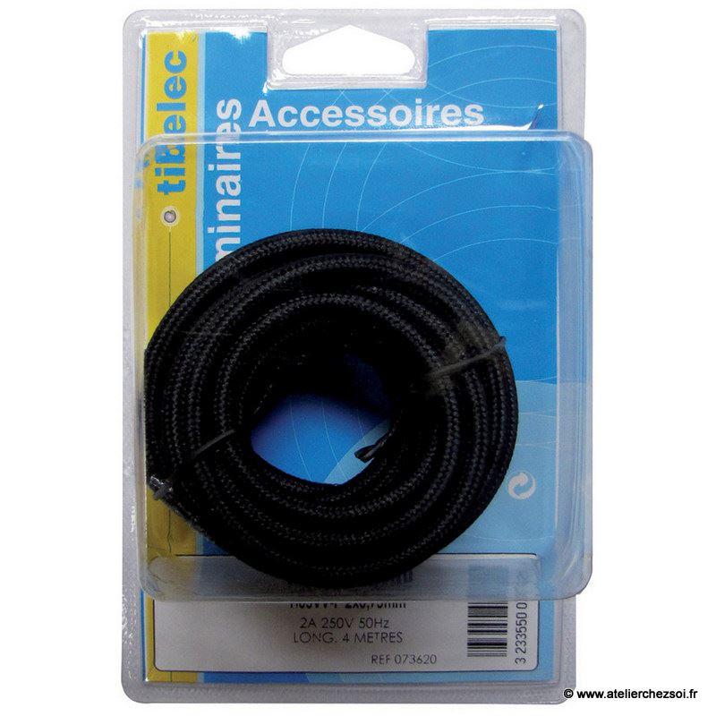 Cable lectrique rond tissu noir 4 m tres de l 39 atelier - Cable electrique tissu ...