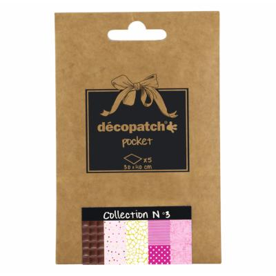 Papier Decopatch Pocket 5 feuilles 30x40cm assorties Collection n°3