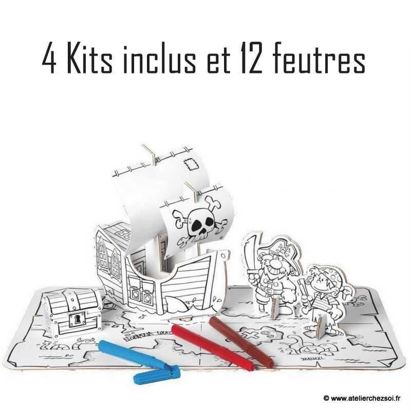 pack 4 kits bateau pirate en carton colorier 12. Black Bedroom Furniture Sets. Home Design Ideas