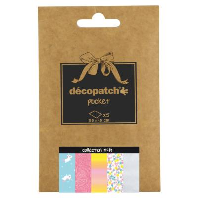 Papier Decopatch Pocket 5 feuilles 30x40cm assorties Collection n°19