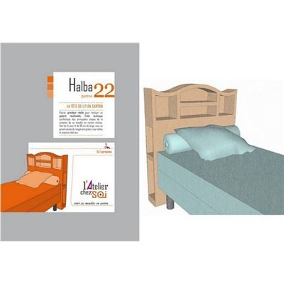patron meuble en carton t te de lit halba 1 personne de l 39 atelier chez soi. Black Bedroom Furniture Sets. Home Design Ideas