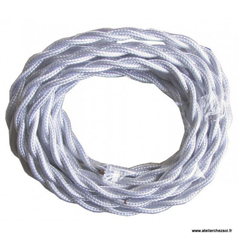 Cable lectrique torsad tissu blanc 3 m tres de l 39 atelier - Cable electrique tissu ...