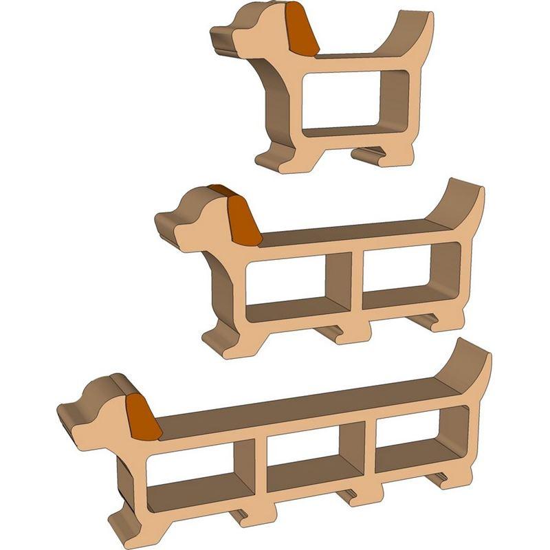 E patron pdf meuble en carton chien helvis de l 39 atelier - Patron meuble en carton gratuit ...