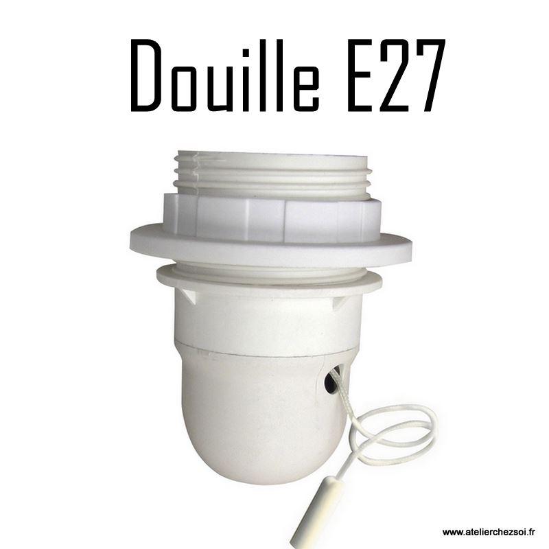 Douille lectrique e27 blanche avec interrupteur tirette - Douille de chantier e27 ...