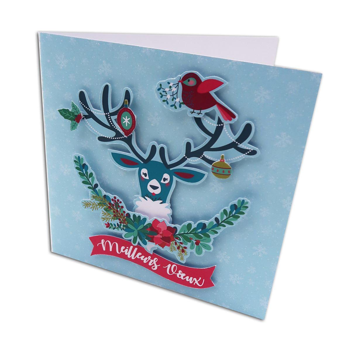 Belle Kit de 10 Cartes de Voeux 13x13 cm à fabriquer Un Renne à Noël et 10 XQ-79
