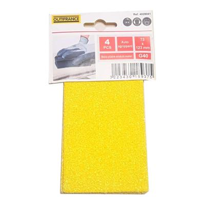 Recharge 4 feuilles abrasives grain gros 40 autoagrippantes 73x123 mm Outifrance
