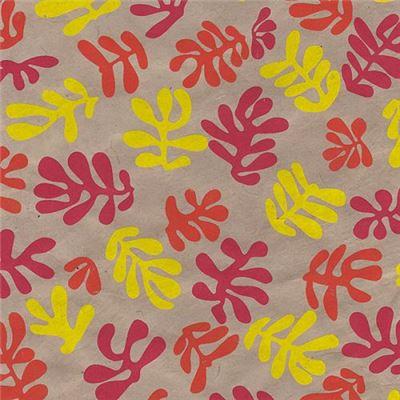 papier n palais algues rouge jaune 50x75 cm de l 39 atelier chez soi. Black Bedroom Furniture Sets. Home Design Ideas