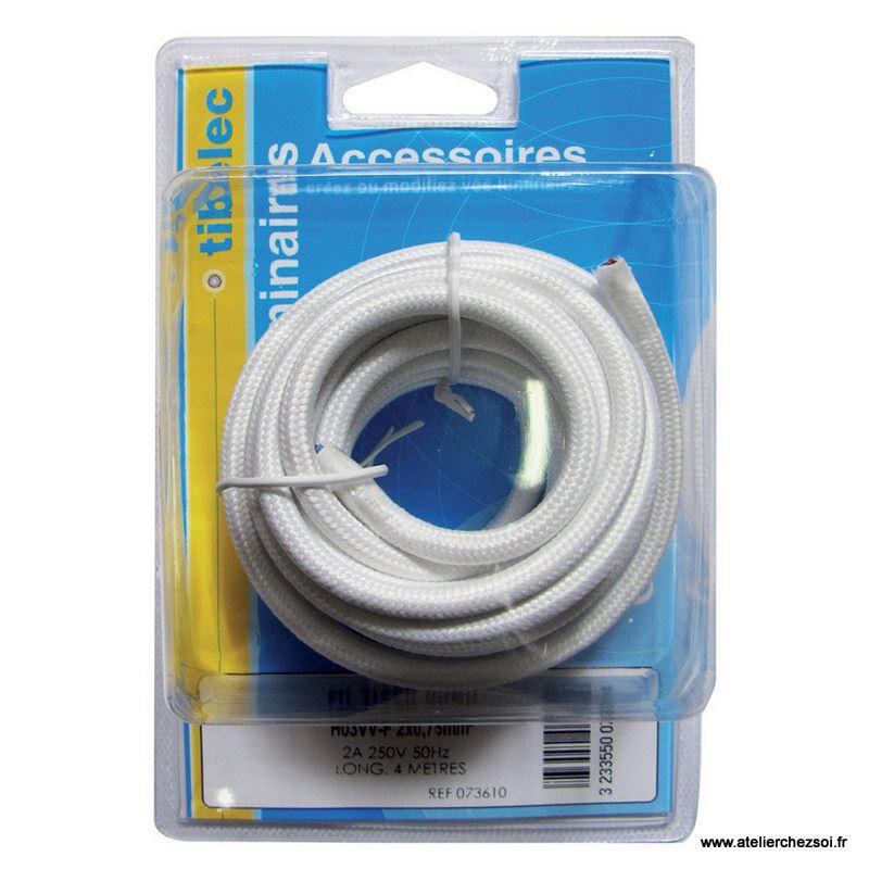Cable électrique Rond Tissu Blanc 4 Mètres De Latelier Chez Soi