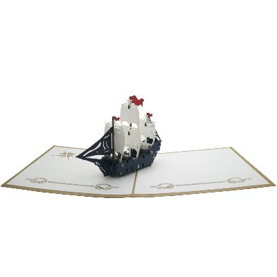 Carte pop-up Bateau Kraft Wonkard
