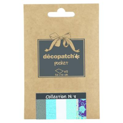 Papier Decopatch Pocket 5 feuilles 30x40cm assorties Collection n°8