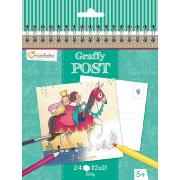 Carnet Cartes Postales  Princesses Chevaliers 24p Graffy Post