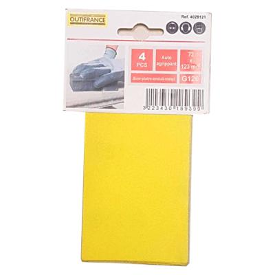 Recharge 4 feuilles abrasives grain fin 120 autoagrippantes 73x123 mm Outifrance
