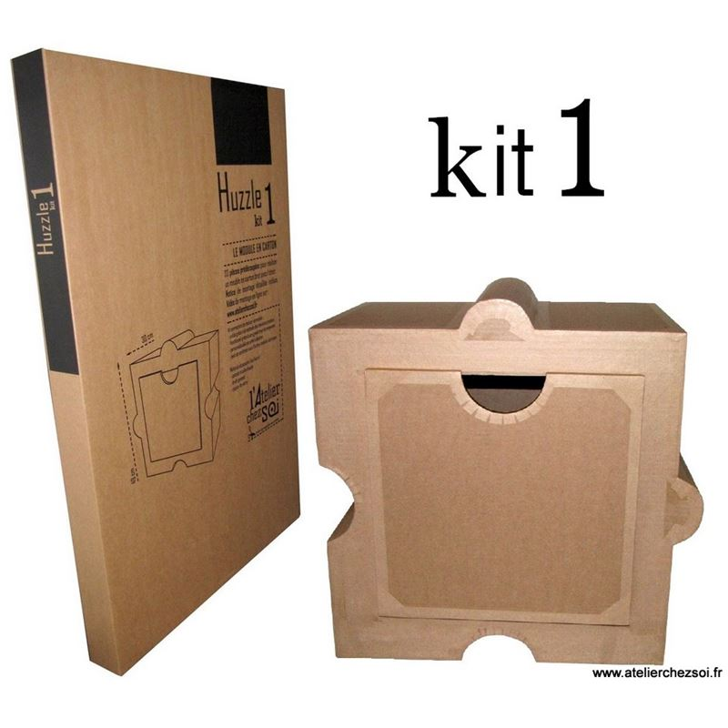 Kit de meuble en carton module huzzle de l 39 atelier chez soi for Construire meuble en carton