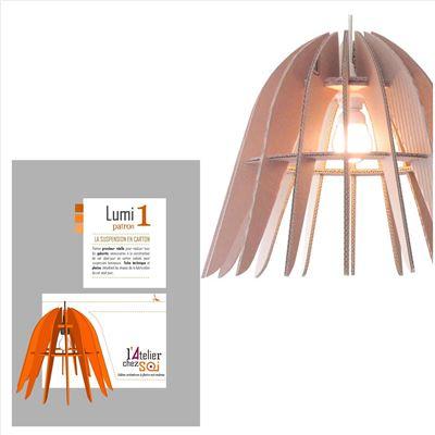 patron luminaire en carton suspension design lumi1 de l 39 atelier chez soi. Black Bedroom Furniture Sets. Home Design Ideas