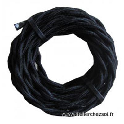 cable lectrique torsad tissu noir 3 m tres de l 39 atelier. Black Bedroom Furniture Sets. Home Design Ideas