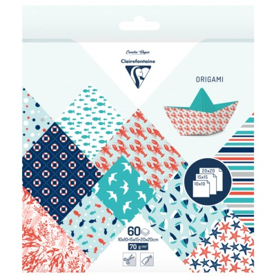 Papier Origami 60 feuilles 3 Formats 10x10 15x15 20x20 Motifs Grand Large Clairefontaine