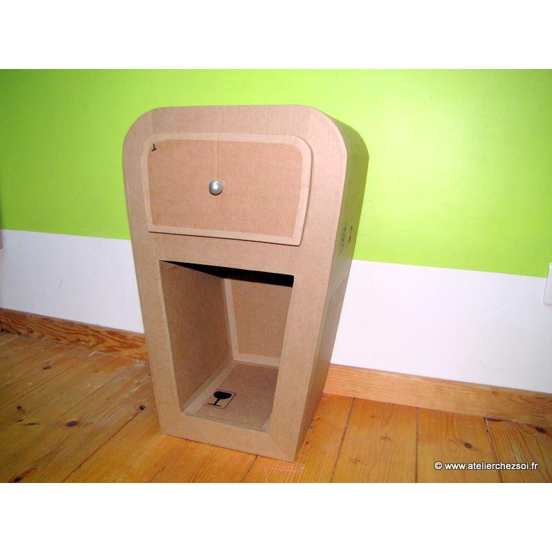 E patron pdf meuble en carton chevet hatika de l 39 atelier - Meuble en carton design ...