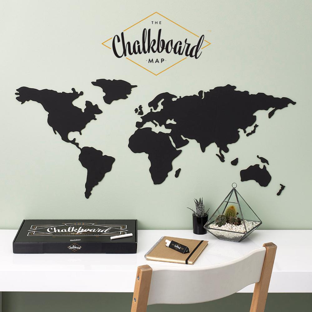 Comment Coller De L Ardoise carte du monde ardoise à coller au mur planisphère chalkboard 100x46 cm