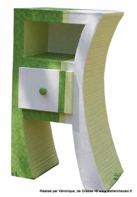 Chevet En Carton Hasiane Par Véronique Décoration Peinture Vert Et