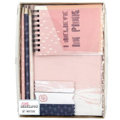 Set Papeterie Fantaisie Rose Carnets Notes et 3 crayons