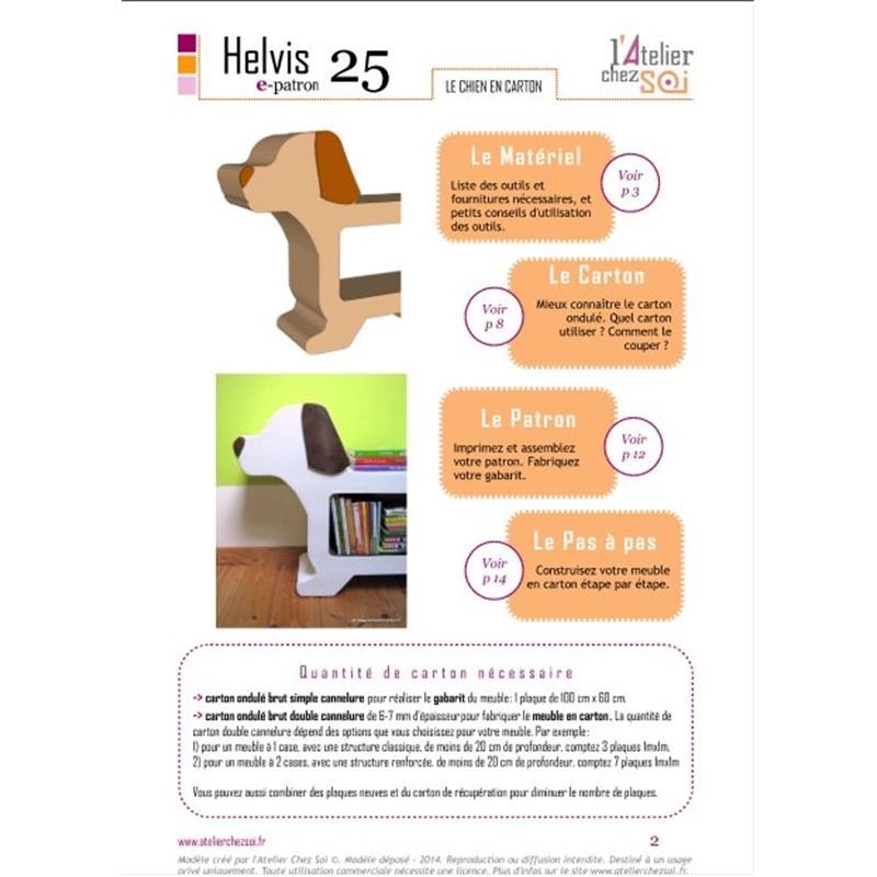 e patron pdf meuble en carton chien helvis de l 39 atelier chez soi. Black Bedroom Furniture Sets. Home Design Ideas