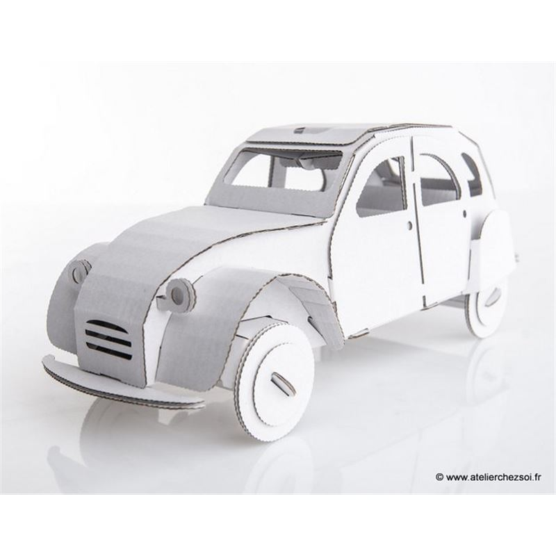 voiture 2cv carton blanc construire maquette leolandia. Black Bedroom Furniture Sets. Home Design Ideas