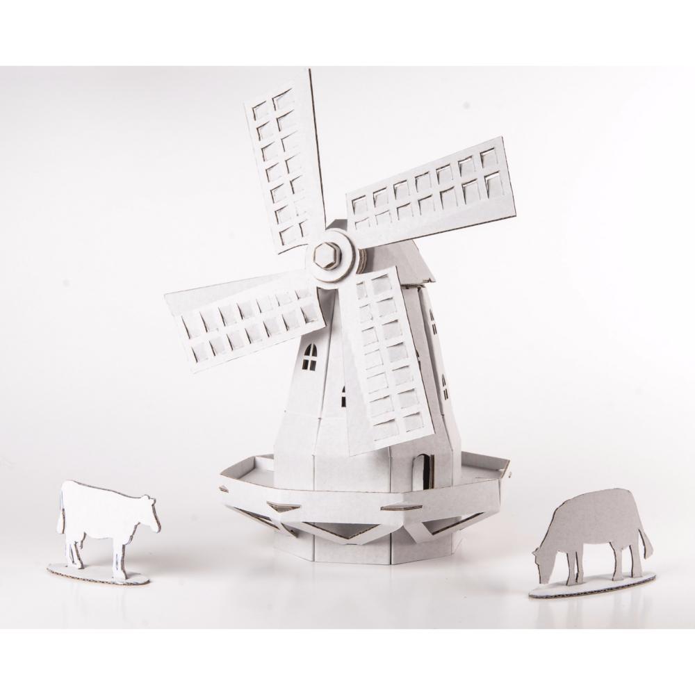 moulin vent carton blanc construire maquette leolandia. Black Bedroom Furniture Sets. Home Design Ideas