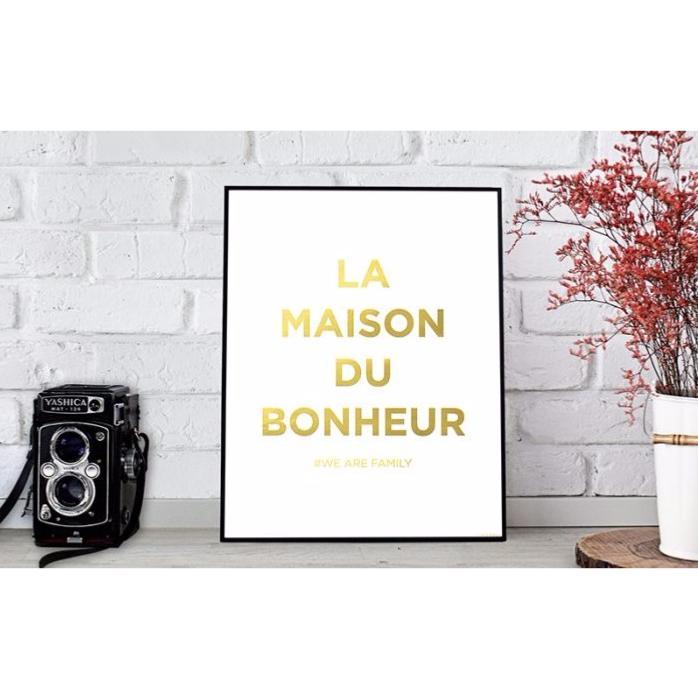 affiche d corative la maison du bonheur 24 x 30 cm blanc et or. Black Bedroom Furniture Sets. Home Design Ideas