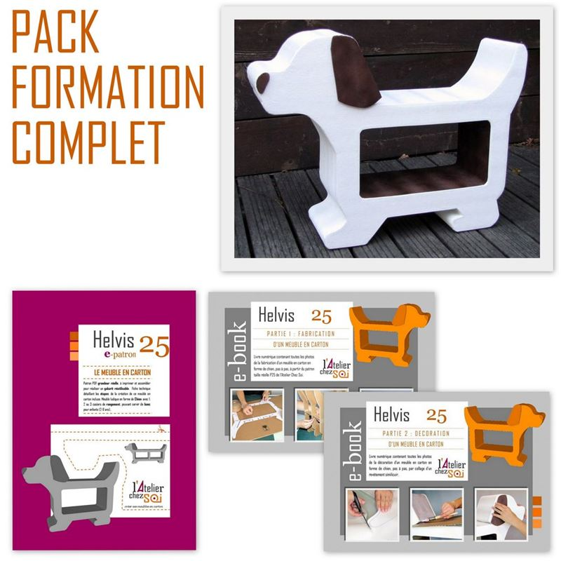pack formation telechargeable meuble en carton chien helvis de l 39 atelier chez soi. Black Bedroom Furniture Sets. Home Design Ideas